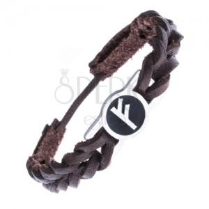 Kožený náramek, pletenec, známka a runový znak FEHU