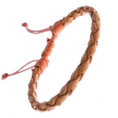 Náramek z kůže - pletenec karamelové barvy, šňůrky Z12.9