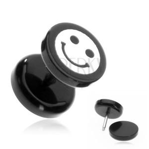 Plug do ucha z akrylu - smajlík na černém kolečku