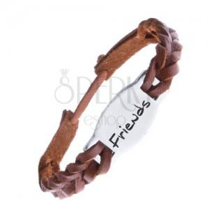 Kožený náramek - karamelově hnědý, známka FRIENDS