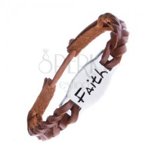 "Úzký pletený náramek z kůže - karamelový, známka ""FAITH"""