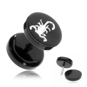 Akrylový fake plug - štír v černém kruhu