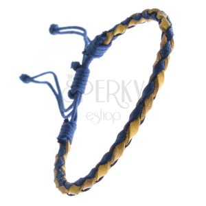 Kožený náramek - oblý pletenec se šňůrkami, modro-žlutý