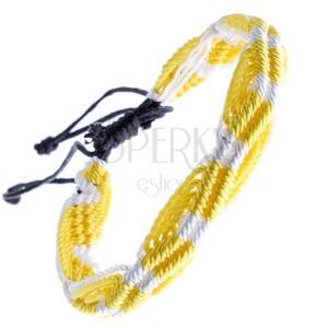 Barevný pletený náramek - žluto-bílé vlnky ze šňůrek