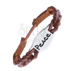 """Úzký pletený náramek z kůže - karamelový, známka """"PEACE"""""""