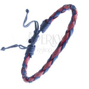 Oblý kožený náramek na ruku - modročervený pletenec