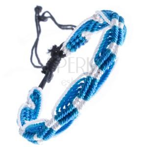 Náramek na ruku ze šňůrek - tyrkysovo modrý, vlnkový vzor