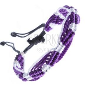 Barevný pletený náramek - fialovo-bílé vlnky z motouzků