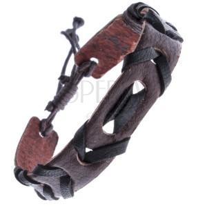 Hnědý kožený náramek s propletenou černou šňůrkou