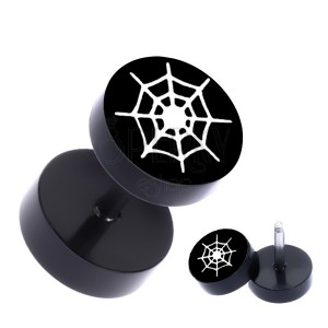Ocelový fake plug - kruhový s potiskem pavučiny, PVD