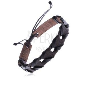 Náramek z kůže na ruku, tmavohnědý pás, černý proužek