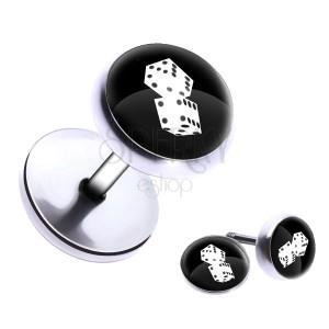 Kulatý fake plug do ucha z oceli - hrací kostky, glazura
