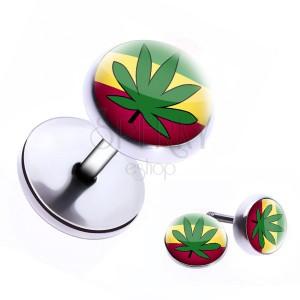 Falešný piercing do ucha z oceli- rasta barvy a marihuana