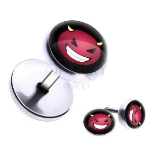Kulatý ocelový fake plug se smějícím se ďáblíkem