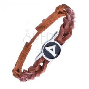 """Kožený řemínek na ruku - karamelově hnědý, runa """"Wunjo"""""""