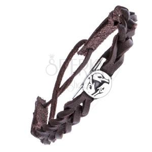 Řemínek na ruku - pletený, kruhová ocelová známka, keltský pták