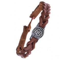 Kožený karamelově hnědý náramek - pletenec, keltský uzel v kruhu Z14.10