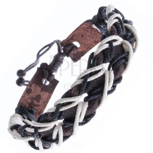 Kožený hnědý náramek, dírkovaný, dvoubarevné šňůrky