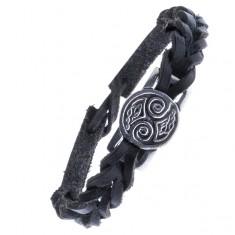 Pletený řemínek na ruku z kůže - černý, keltské uzly, známka Z15.9