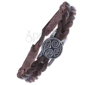 Hnědý kožený řemínek na ruku - pletený, známka, keltské uzlíky
