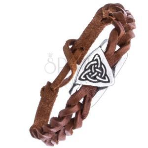 Pletený náramek z kůže - karamelový, keltský uzel s kruhem