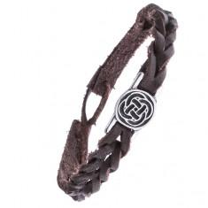 Kožený hnědý náramek - pletený, keltský uzel v kruhu Z14.12