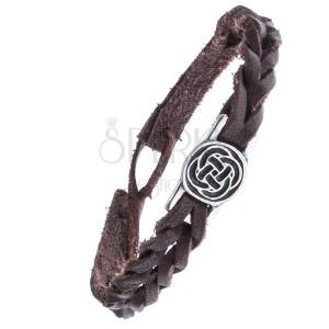 Kožený hnědý náramek - pletený, keltský uzel v kruhu