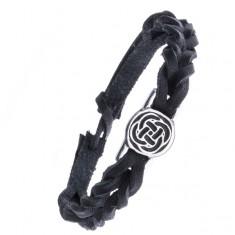 Černý kožený náramek - pletenec, keltský uzel v kruhu Z14.18