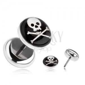 Falešný plug z oceli - lebka, zkřížené hnáty, černý kruh