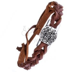 Kožený náramek - hnědý, známka, keltský motiv slunce