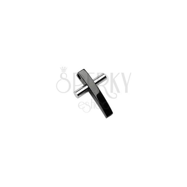 Ocelový přívěsek dvoubarevný kříž
