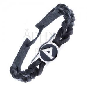 """Kožený náramek černý – pletený, runa """"Wunjo"""""""