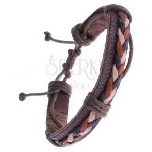 Hnědý kožený náramek – trojbarevné pletené šňůrky