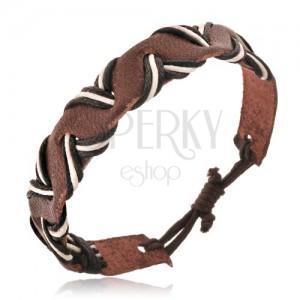 Řemínek na ruku z kůže - hnědý, dvoubarevné šňůrky, vlnka