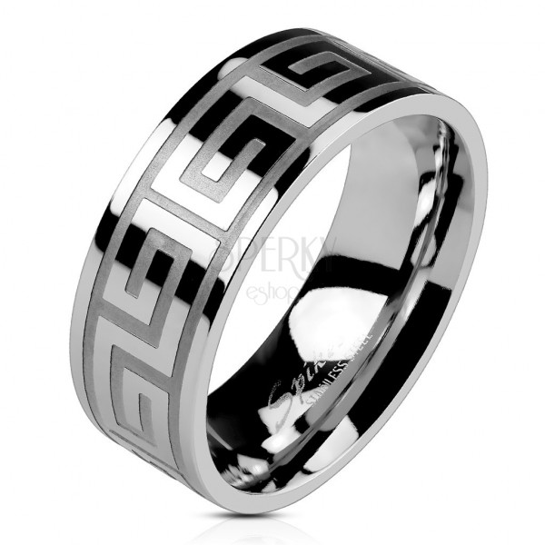 Prsten z oceli stříbrné barvy, lesklý povrch, řecký klíč, 8 mm