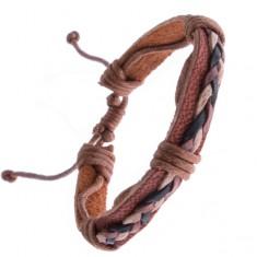 Náramek z kůže – karamelově hnědý, tři pletené šňůrky Y52.17