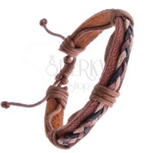 Náramek z kůže – karamelově hnědý, tři pletené šňůrky