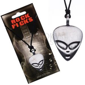 Šňůrkový náhrdelník - černý, plochá hlava mimozemšťana