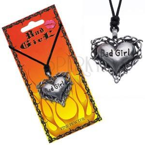 """Náhrdelník s přívěskem srdce v trní s nápisem """"Bad girl"""""""