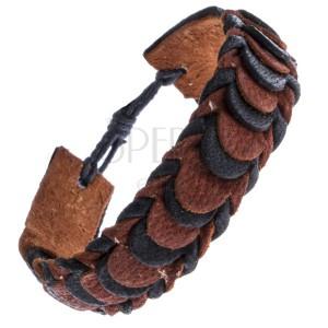 Černo-hnědý skládaný náramek z kůže, motiv šupinek