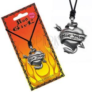 Šňůrkový náhrdelník - prostřelené srdce, stuha, TRUE LOVE