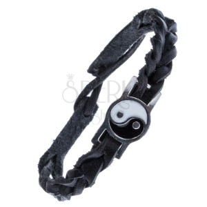 Černý kožený náramek – pletený se známkou, Yin a Yang