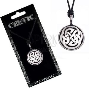 Náhrdelník s přívěskem, černý, keltské uzly