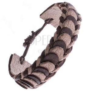 Kožený náramek – hnědé a béžové překládané pásy