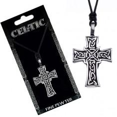 Náhrdelník se šňůrkou – černý, keltský kříž Y51.14
