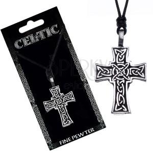 Náhrdelník se šňůrkou – černý, keltský kříž