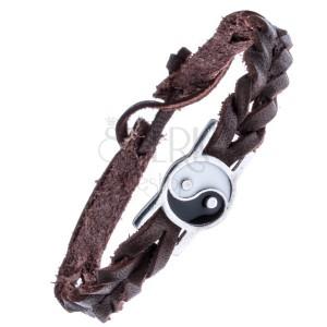 Kožený pletený náramek hnědý – známka, Yin a Yang