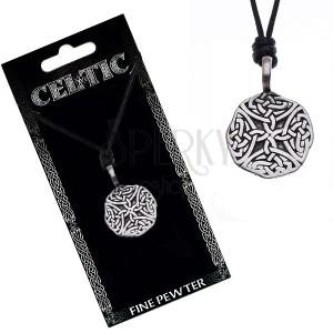 Náhrdelník se šňůrkou – černý, kruhový přívěsek, keltské uzly