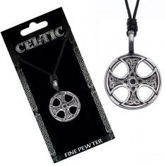 Černý šňůrkový náhrdelník – kovový přívěsek, keltský kříž Y51.15