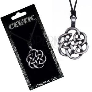 Černý náhrdelník - obrys keltského uzlu, šňůrka